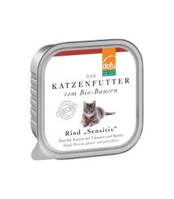 Pâté BIO boeuf aux tomates & épinards pour chat adulte – 100g – Defu