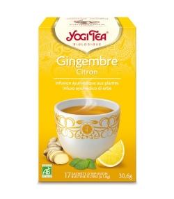 BIO-Kräutertee mit Ingwer, Zitronenschalen & Pfefferminze – Ingwer Zitrone Tee – 17 Teebeutel – Yogi Tea