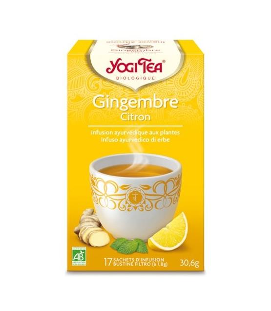 Infusion de gingembre, zeste de citron & menthe poivrée BIO - Gingembre Citron - 17 sachets - Yogi Tea