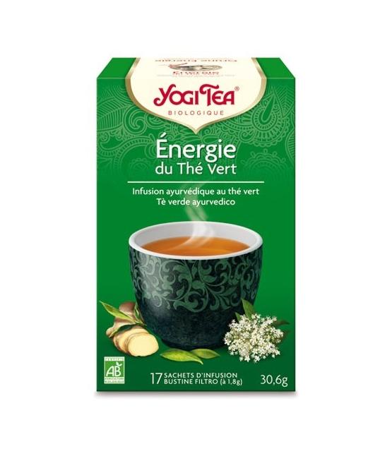 BIO-Grüntee mit Guarana, Ingwer & Holunderblüten - Grüne Energie - 17 Teebeutel - Yogi Tea