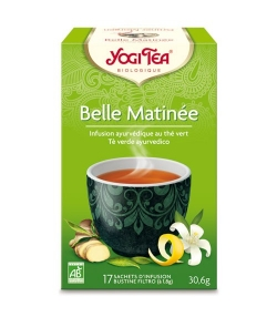Thé vert au jasmin, gingembre & zeste de citron BIO – Green Morning – 17 sachets – Yogi Tea