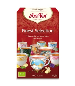 BIO-Auswahl von Teemischungen, Grüntee & Schwarztee - Finest Selection - 9x2 Teebeutel - Yogi Tea