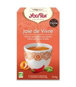 BIO-Kräutertee mit Basilikum, Orangenschalen & Chili – Lebensfreude Tee – 17 Teebeutel – Yogi Tea