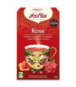 Infusion de pétales de rose rouge, hibiscus & fleurs de tilleul BIO – Rose – 17 sachets – Yogi Tea