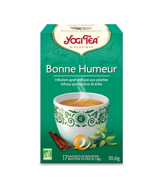 BIO-Kräutertee mit Zimt, Hopfen & Orangenschalen - Glücks Tee - 17 Teebeutel - Yogi Tea