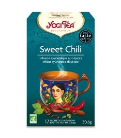 Infusion d'écorces de cacao, menthe poivrée & piment BIO – Sweet Chili – 17 sachets – Yogi Tea