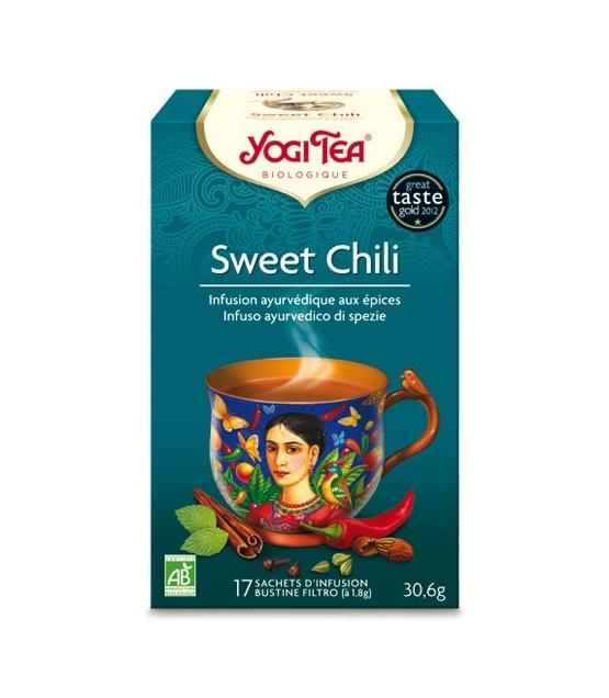BIO-Kräutertee mit Kakaoschalen, Pfefferminze & Chili - Sweet Chili - 17 Teebeutel - Yogi Tea
