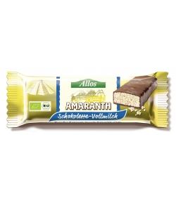 Barre à l'amarante soufflée enrobée de chocolat au lait BIO - 25g - Allos