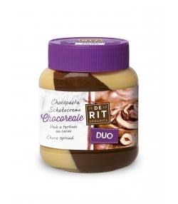 Duo pâte à tartiner au cacao noisettes & crème blanche BIO Chocoreale - 350g - De Rit