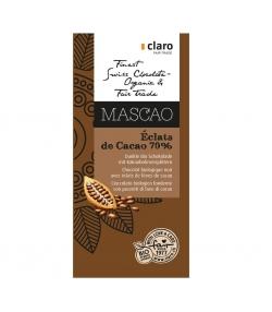 Chocolat BIO noir avec éclats de fèves de cacao 70% Mascao - 100g - Claro