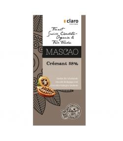 Chocolat BIO noir crémant 58% Mascao - 100g - Claro
