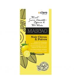 Chocolat BIO noir avec croquant de citron & poivre Mascao - 100g - Claro