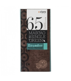 Chocolat BIO noir 65% Mascao Single Origin Ecuador - 100g - Claro