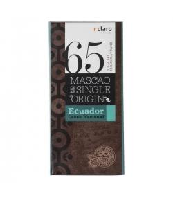 Chocolat BIO noir 65% Mascao Single Origin Ecuador - 100g - Claro