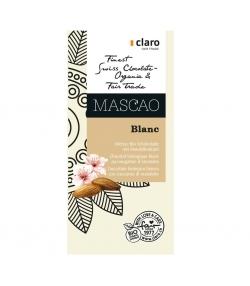 Chocolat BIO blanc au nougatine d'amandes Mascao - 100g - Claro