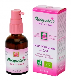 Huile de rose musquée du Chili enrichie en huile essentielle de rose de damas BIO - 30ml - Mosqueta's