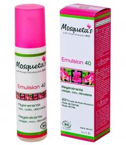 Emulsion 40 régénérante visage, cou & décolleté BIO rose musquée, rose de damas, rose de mai - 50ml - Mosqueta's