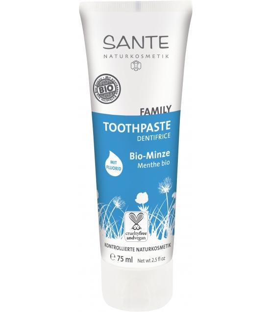 Dentifrice avec fluorure famille BIO menthe - 75ml - Sante