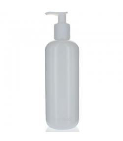 Bouteille Optima ronde en plastique blanc 500ml avec pompe de distribution - 1 pièce - Aromadis