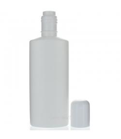 Bouteille à col haut ovale en plastique blanc 200ml avec réducteur et bouchon à vis blanc - 1 pièce - Aromadis