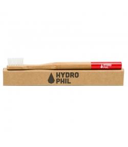 Brosse à dents en bambou Rouge Medium-Soft Nylon - 1 pièce - Hydrophil
