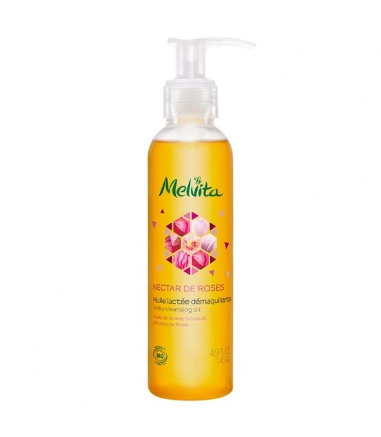 Milchiges BIO-Reinigungsöl Muskatrosenöl & Rosenblütenblätter - 145ml - Melvita Nectar de Roses