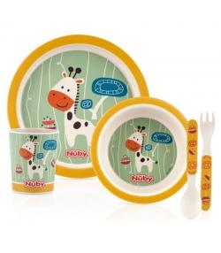 Set vaisselle girafe en bambou pour enfants - Nûby