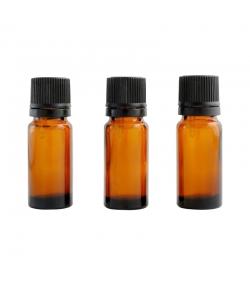 Braune Glasflasche 10ml mit schwarzer Tropfspitze und Sicherheitsring - 3 Stück - Centifolia