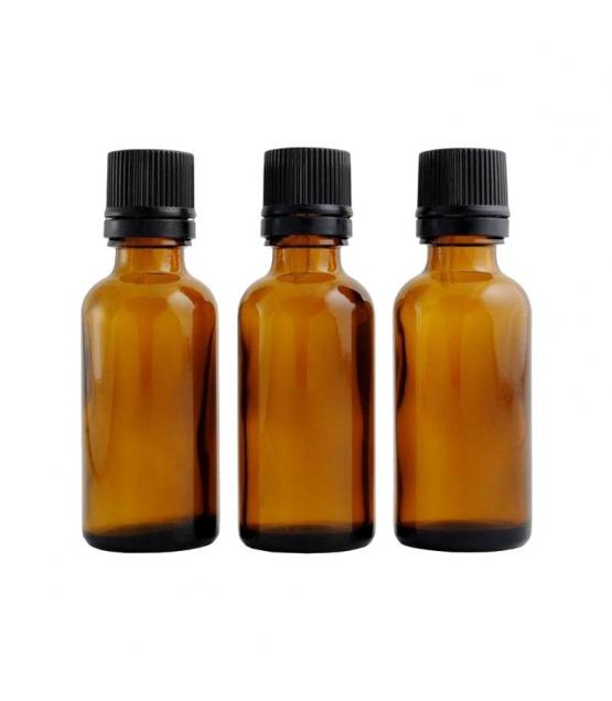 Braune Glasflasche 30ml mit schwarzer Tropfspitze und Sicherheitsring - 3 Stück - Centifolia