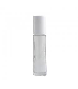 Transparente Glasflasche 10ml mit Kunststoffkugel und weissem Verschluss - 1 Stück - Centifolia