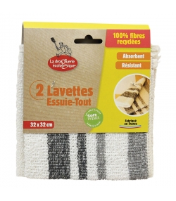 Lavettes essuie-tout 100% fibres recyclées - 2 pièces - La droguerie écologique