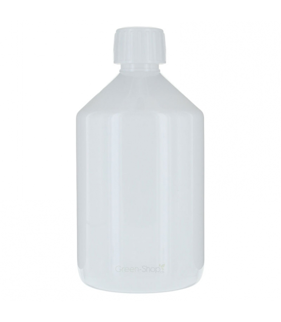 Bouteille Veral en plastique blanc 500ml avec bouchon à vis blanc et anneau d'inviolabilité - 1 pièce - Aromadis