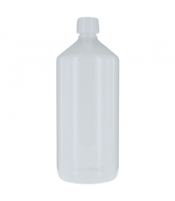 Bouteille Veral en plastique blanc 1l avec bouchon à vis blanc et anneau d'inviolabilité - 1 pièce - Aromadis