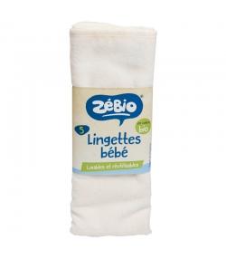 Lingettes bébé lavables en coton bio - 5 pièces - Zébio