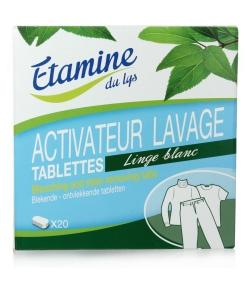 Tablettes activateur lavage linge blanc écologiques sans parfum - 20 tablettes - Etamine du Lys