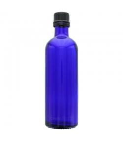 Blaue Glasflasche 200ml mit scharzem Drehverschluss und Sicherheitsring - 1 Stück - Aromadis