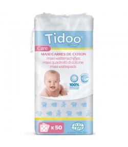 Maxi carrés de coton BIO ultra doux bébé - 50 pièces - Tidoo Care