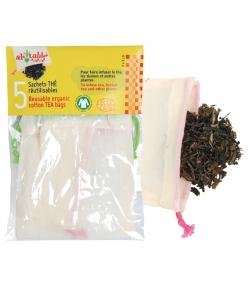 Wiederverwendbare Teebeutel aus Bio-Baumwolle - 5 Stück - ah table !