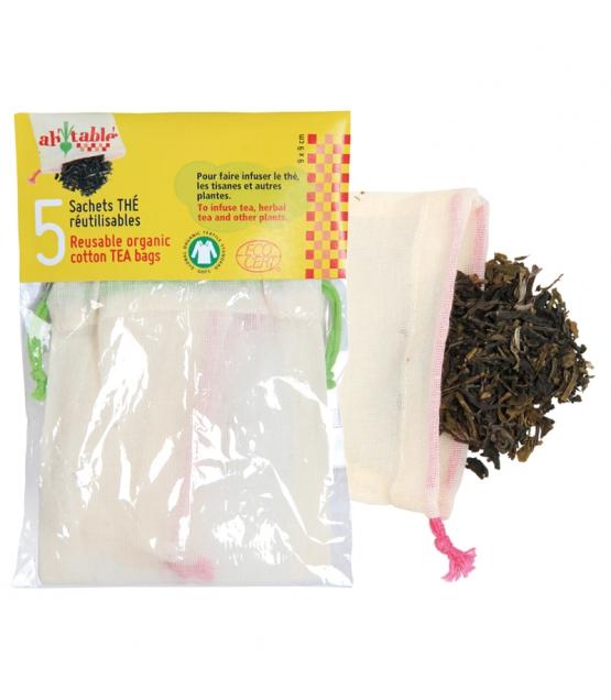 Sachets thé réutilisables en coton BIO - 5 pièces - ah table !