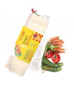 Wiederverwendbare Beutel aus Bio-Baumwolle - Grösse L - 5 Stück - ah table !
