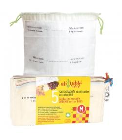 Wiederverwendbare Säcke mit Massangabe aus Bio-Baumwolle - Grösse M - 5 Stück - ah table !