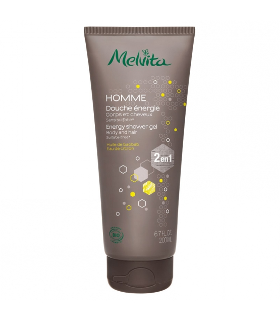 2in1 Belebendes BIO-Duschgel für Körper & Haar Baobab & Zitrone für Männer - 200ml - Melvita