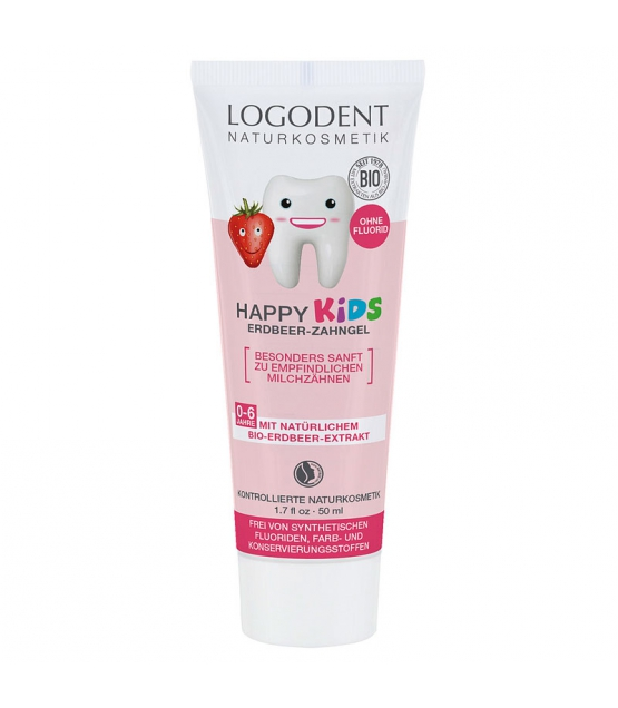 Gel dentaire happy kids BIO fraise sans fluor - 50ml - Logodent