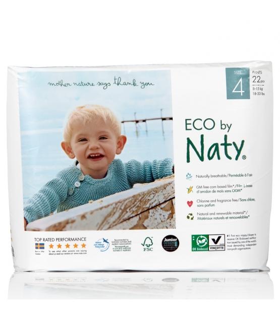 Culottes d'apprentissage écologiques Taille 4 Maxi/Maxi Plus 8-15 kg – 1 sac de 22 pièces – Naty