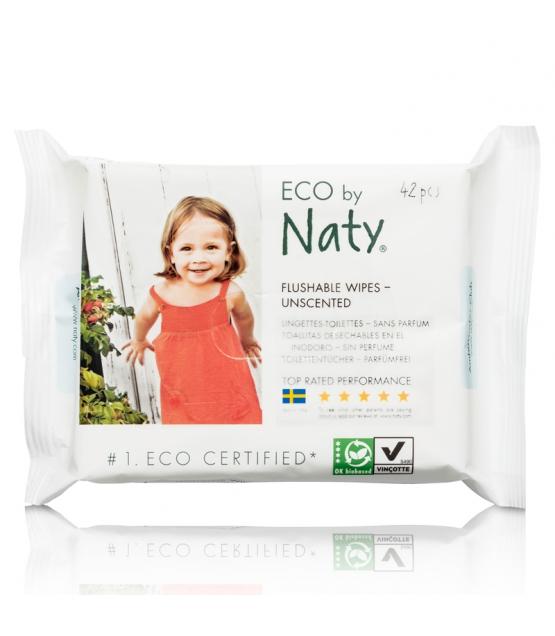 Öko-Toilettentücher ohne Parfum – 42 Feuchttücher – Naty