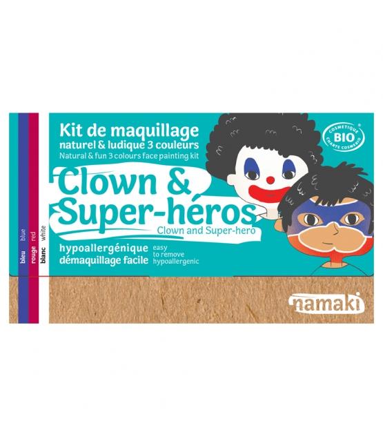 Kit de maquillage naturel & ludique 3 couleurs Clown & Super-héros - Namaki