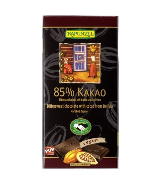 Chocolat noir 85% de cacao BIO - 80g - Rapunzel