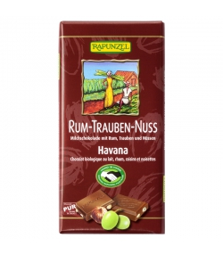 Chocolat au lait, rhum, raisins & noisettes BIO - 100g - Rapunzel