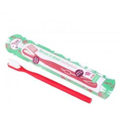 Zahnbürste mit auswechselbarem Bürstenkopf rot Medium Nylon - 1 Stück - Lamazuna