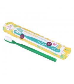 Zahnbürste mit auswechselbarem Bürstenkopf tannengrün Medium Nylon - 1 Stück - Lamazuna